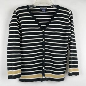 Harold's Striped V-Neck Button Up Women's Cardigan